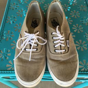 Vans Lace Up Canvas Tan Sneakers Slip on Shoes 9.5
